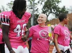 image-football player and guest in pink jerseys