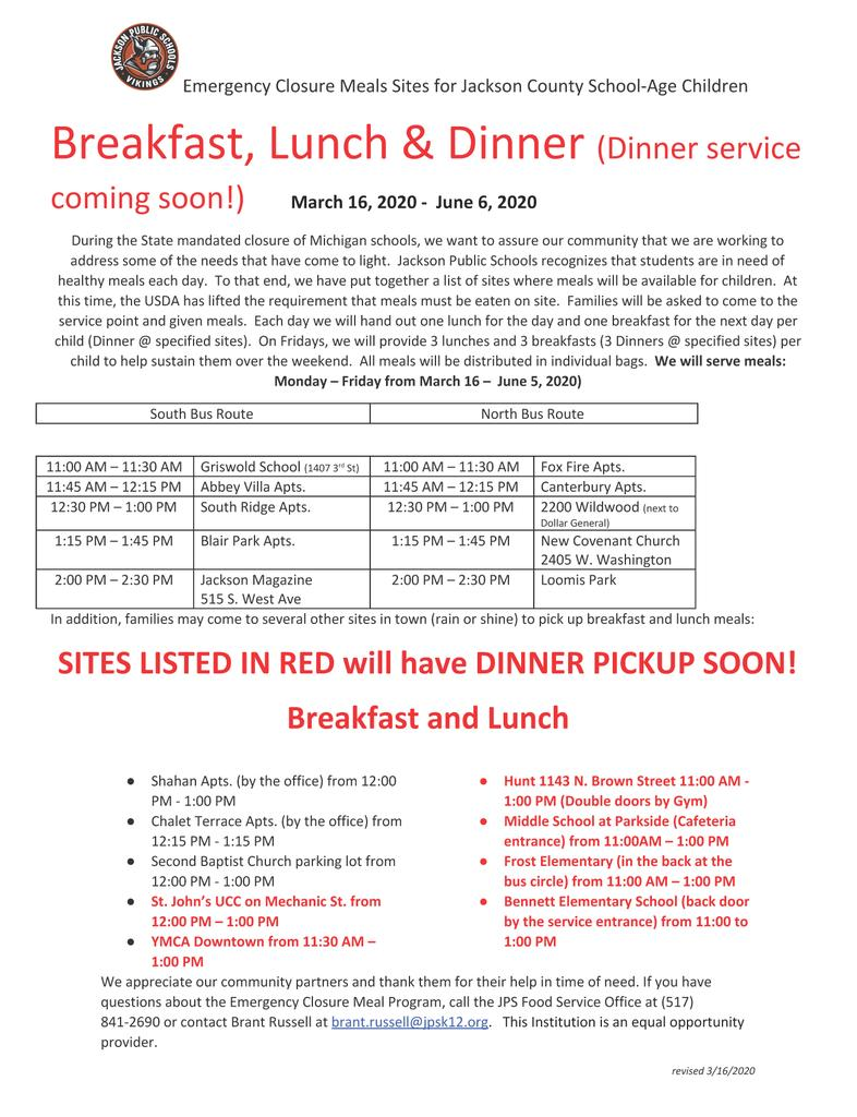 Food Service - Correction Dinner Service Start Date TBD
